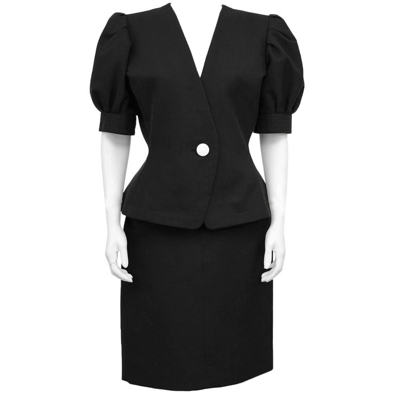 Yves Saint Laurent YSL Black Cotton Skirt Suit, 1980s