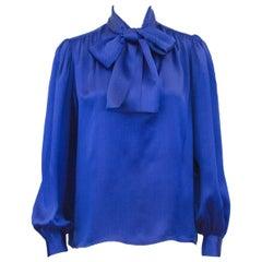Yves Saint Laurent YSL Blue and Black Chevron Printed Silk Pussybow Blouse, 1980