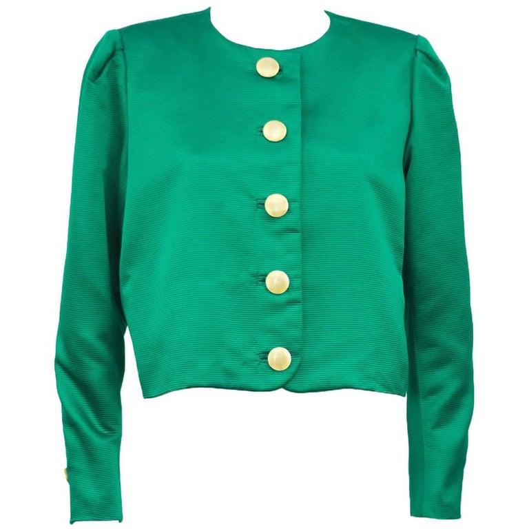 Yves Saint Laurent YSL Emerald Green Jacket, 1980s