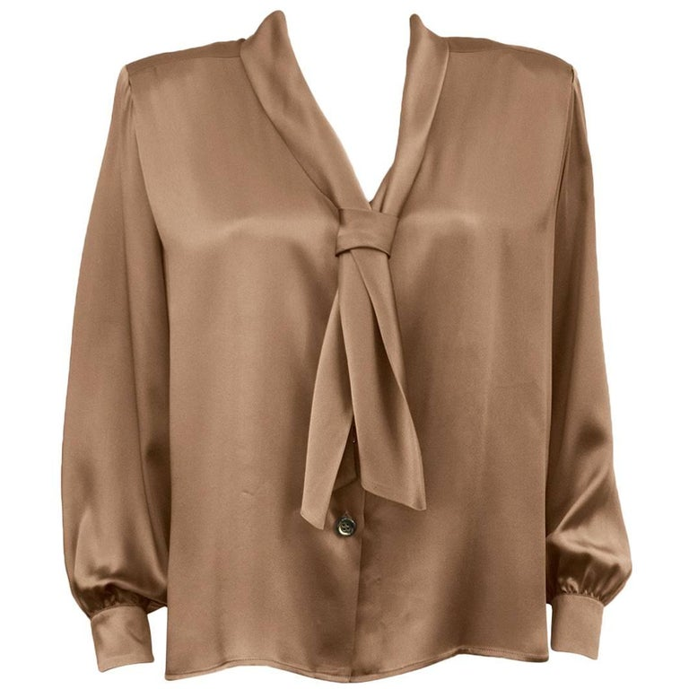 Yves Saint Laurent YSL Champagne Silk Blouse, 1980s