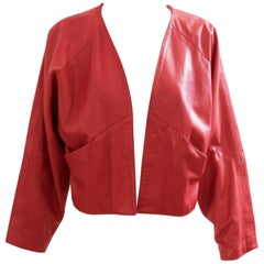 Red Leather Jacket Retro 80s Dolman Sleeves Slash Pockets Size M