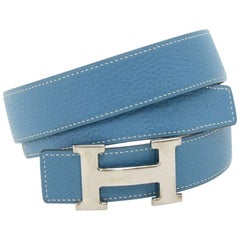 Hermes Blue and Black Reversible Leather Silver Tone H buckle Belt Size 75