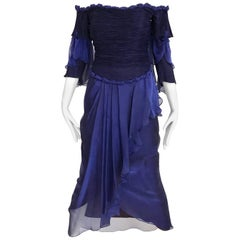 Zandra Rhodes Vintage Purple Blue Off Shoulder Cocktail Silk Dress