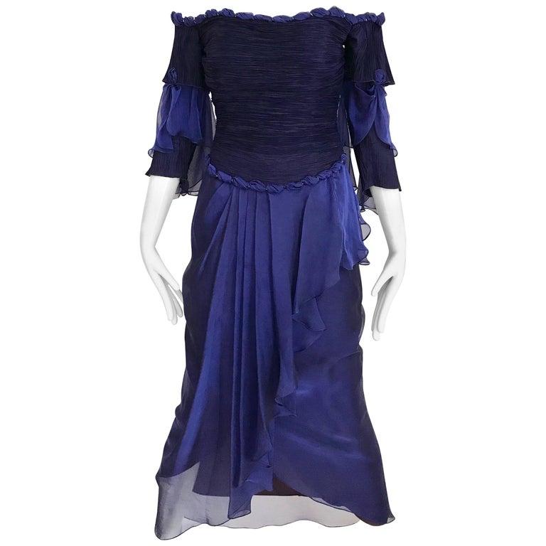 Zandra Rhodes Vintage Purple Blue Off Shoulder Cocktail Silk Dress