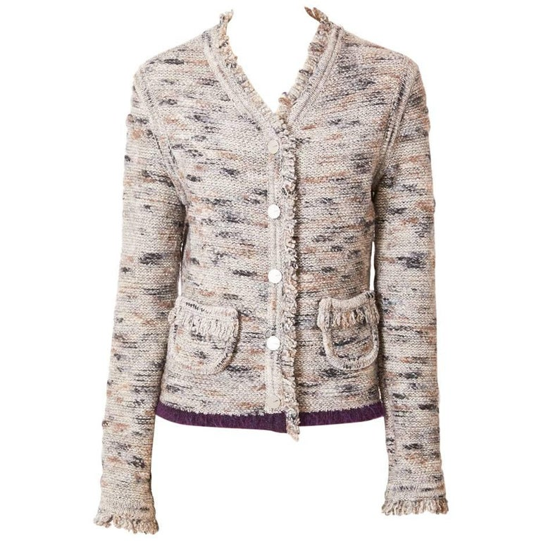 Chanel Boutique Knit Cardigan with Fringe Detail For Sale