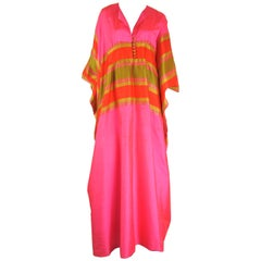 1960s Silk Dupioni Pink Orange Caftan Dress Asian Bergdorf Goodman