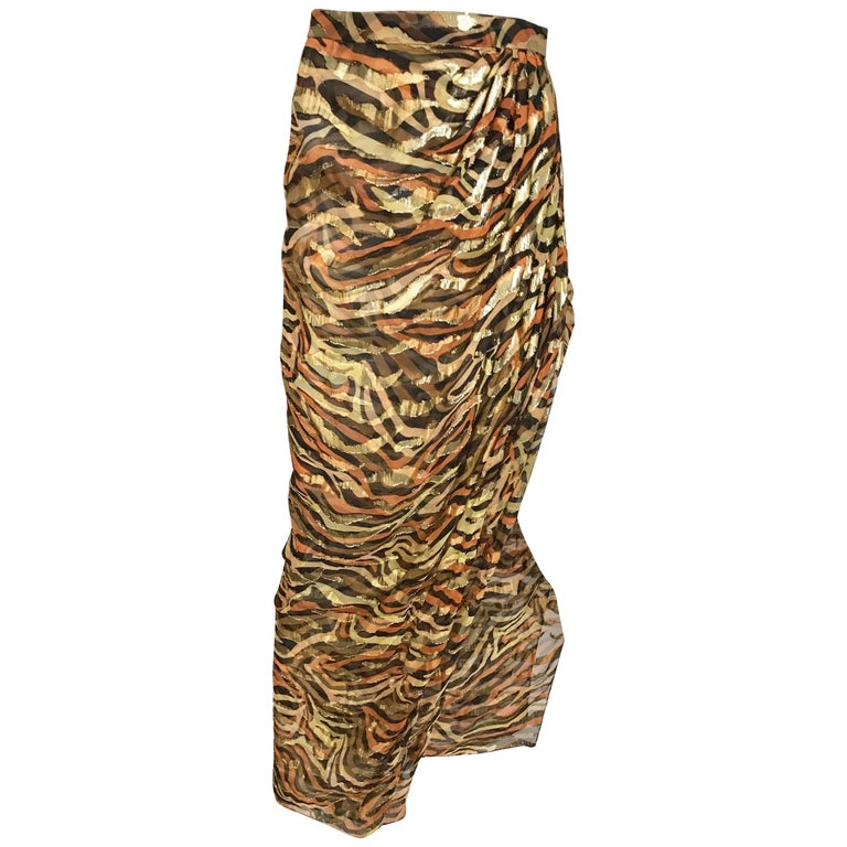 Vintage Bill Blass Gold Metallic Animal Print Silk Lamè Wrap Skirt