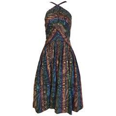 1950s Multi Color Print Cotton Summer Dress
