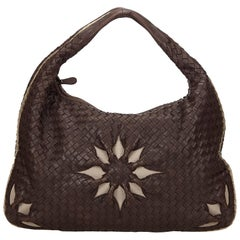 Bottega Veneta Brown Leather Flower Intrecciato Handbag