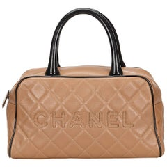 Chanel Light Brown x Black Matelasse Leather Handbag