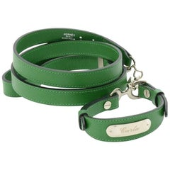 Vintage Hermes Green Leather Dog Collar and Leash