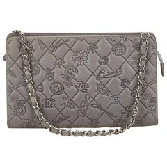 Chanel Gray Icon Symbol Embossed Shoulder Bag