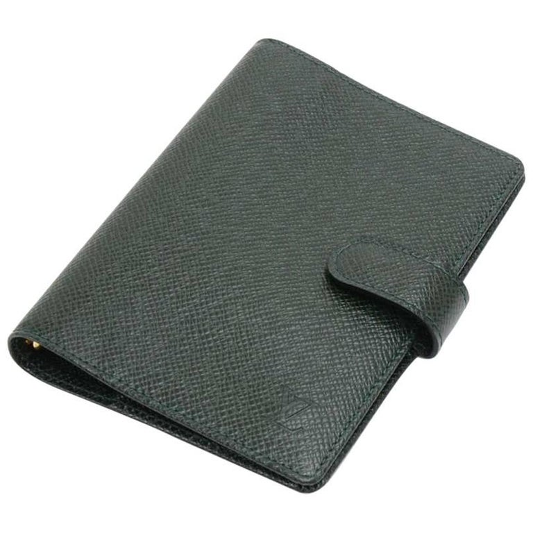 Louis Vuitton Green Taiga Leather Ring Agenda Cover PM
