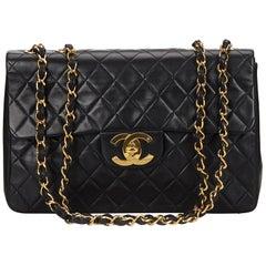 Chanel Black Classic Maxi Lambskin Leather Single Flap