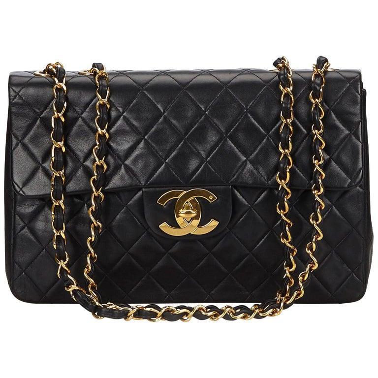 523a4f5f248b Chanel Black Classic Maxi Lambskin Leather Single Flap at 1stdibs