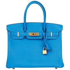 Hermes Blue Hydra and Gris Mouette Chevre Mysore Special Order Birkin 30cm Bag