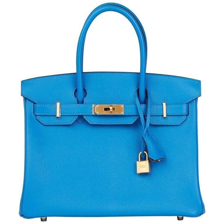 22b67ec885a2 Hermes Blue Hydra and Gris Mouette Chevre Mysore Special Order Birkin 30cm  Bag For Sale.