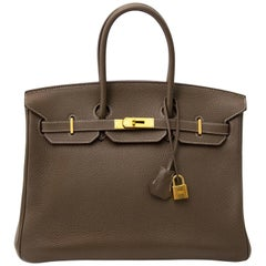 Hermès Birkin 35 Etoupe Clemence Taurillon GHW