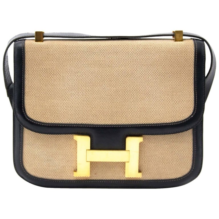 Hermes Constance H Toile Navy Boxcalf Shoulder Bag