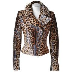Azzedine Alaia Leopard-Print Calf-Hair Jacket