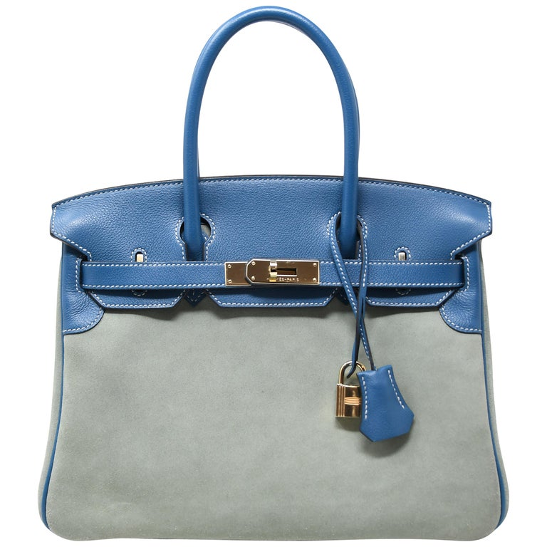 d51c13e68d78 Hermes Birkin Bag 30cm Blue Thalassa Suede with Blue Leather Trim For Sale