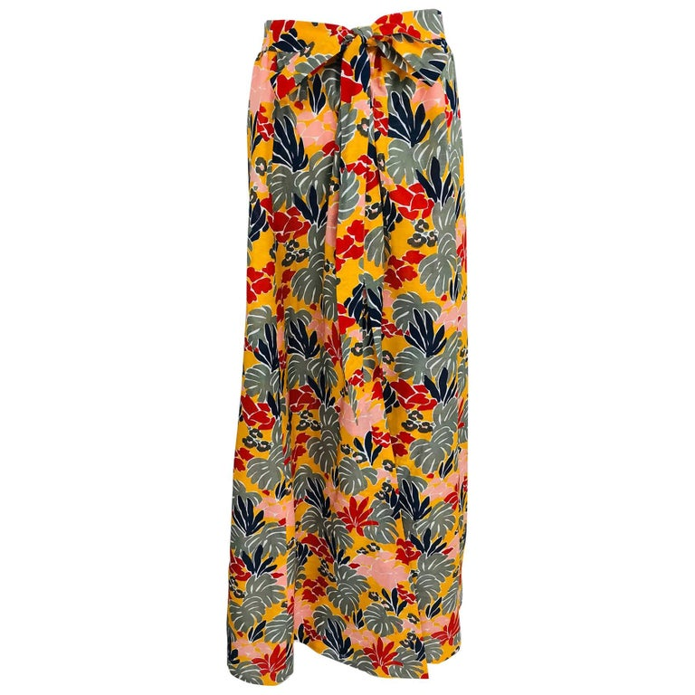 Yves Saint Laurent tropical print linen maxi skirt, 1980s
