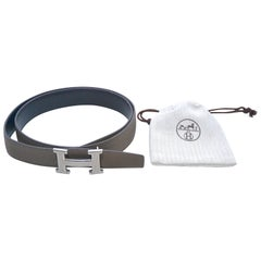 Authentic Hermes 90 Etoupe Grey/Black Constance Reversible H Belt iwj4551-1