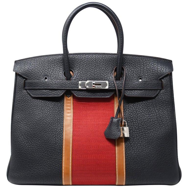 f3d5f2de3f Hermes Birkin Bag 35cm Black with Red Stripe and Palladium Hardware For Sale