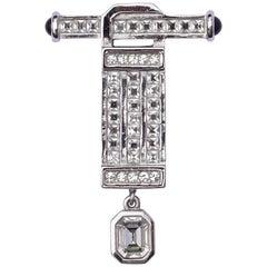 Christian Dior Vintage Silver Tone Art Deco Style Rhinestone Drop Brooch