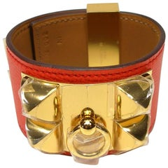 Hermès Bracelet CDC Collier de Chien Orange Poppy Epsom Leather GHW / Brand New