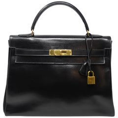 Vintage Hermes Kelly Bag 32cm Black Box Calf GHW