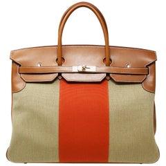 Hermes Birkin Bag 40cm Toile with Orange Stripe and Permabrass Hardware