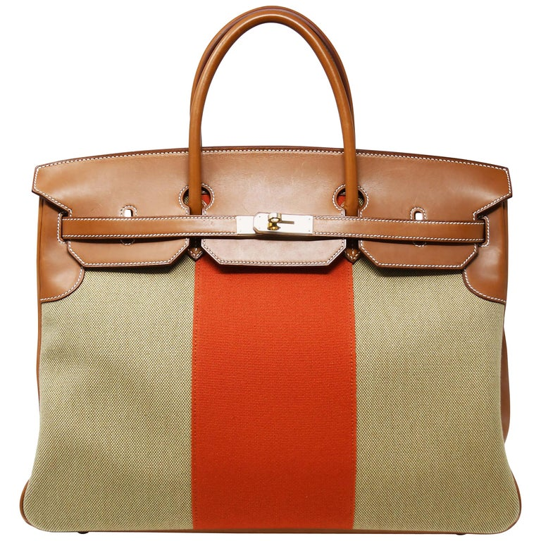 Hermes Birkin Bag 40cm Toile with Orange Stripe and Permabrass Hardware For  Sale 0d3978c27694d