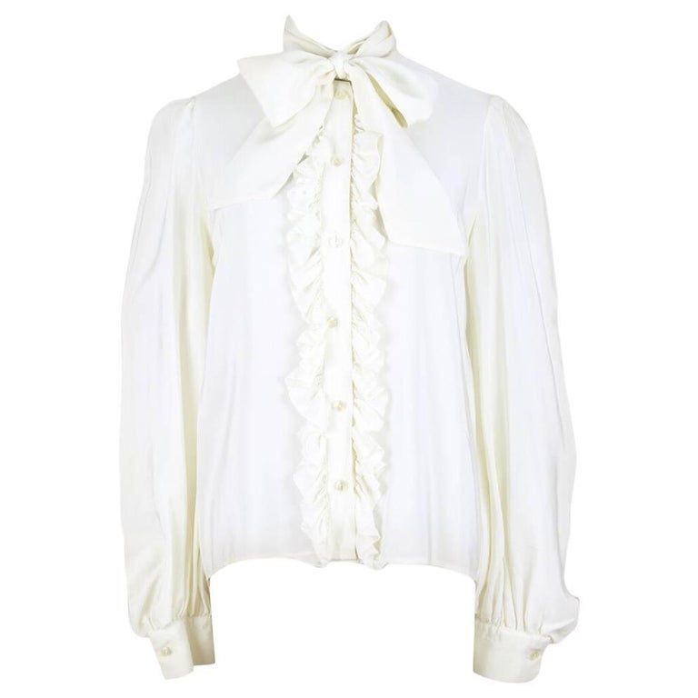 Yves Saint Laurent YSL Cream Silk Bow Tie Ruffled Vintage Blouse Top, 1980s