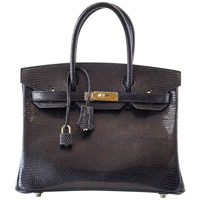Hermes Black Lizard Gold Hardware Birkin 30 Bag