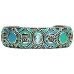 John Hardy Sterling Silver and Turq/Blue Enamel Bracelet with Blue Topaz