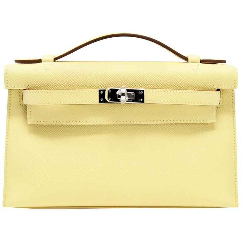 Hermes Kelly Pochette 22cm Light Yellow Epsom with Palladium Hardware
