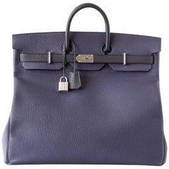 Hermes Birkin 50 Bag Hac Bi Colour Blue Nuit and Black Palladium Hardware Rare