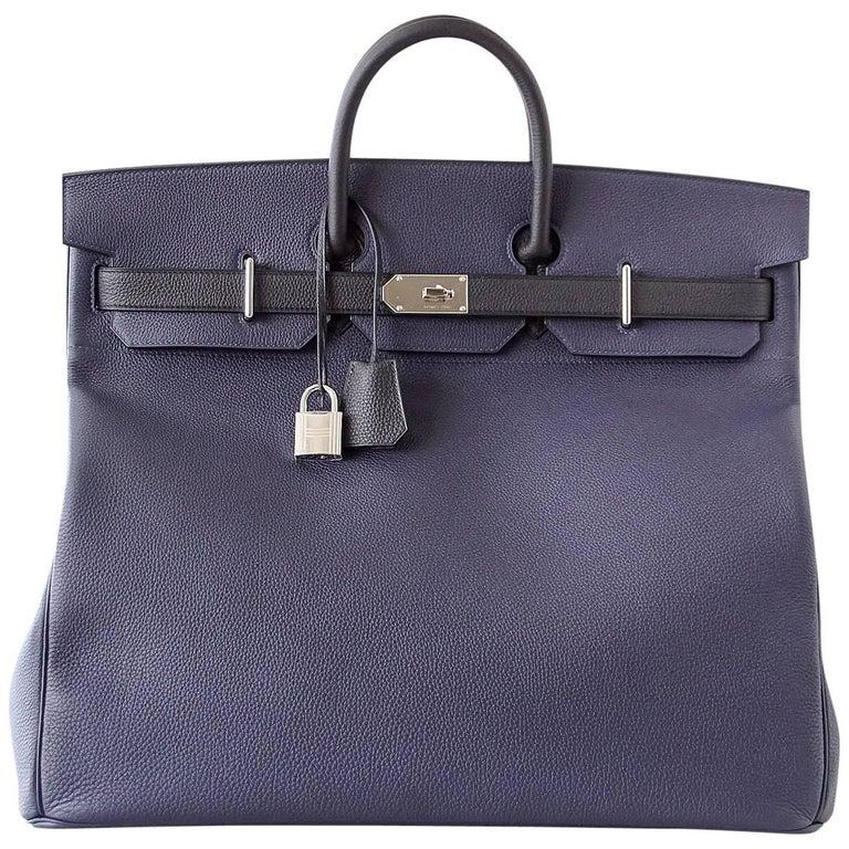 10f52cc221b Hermes Birkin 50 Bag Hac Bi Colour Blue Nuit and Black Palladium Hardware  Rare For Sale