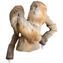 Roberto Cavalli Vintage Ribbed Knit Cardigan Sweater w Detachable Fox Fur Collar