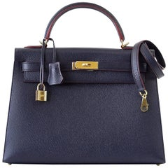 Hermes Kelly 32 Bag Sellier Blue Indigo Rouge Edge Limited Edition Gold
