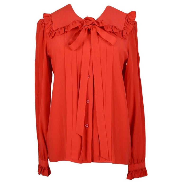 Yves Saint Laurent YSL Orange-Red Silk Ruffle Blouse With Sash/Belt, 1970s