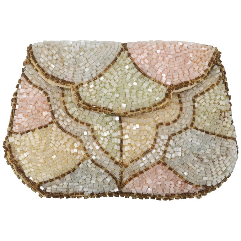 Art Deco Pastel Beaded Small Clutch Handbag, 1930s
