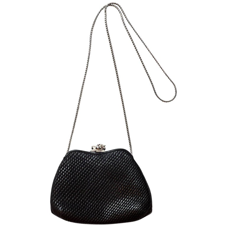 Judith Leiber Black Quilted Leather Frame Bag with DB