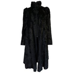 Biba Black Faux Fur Documented Art Deco Swing Coat, 1973