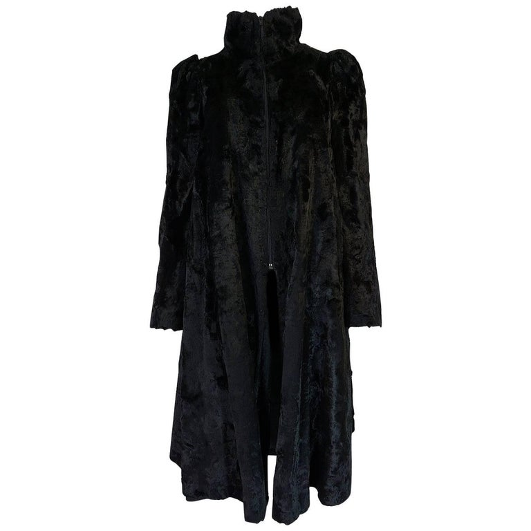 Biba Black Faux Fur Documented Art Deco Swing Coat, 1973