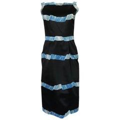 Pauline Trigere Blue Ribbon Printed Black Silk Dress, 1950s