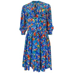 S/S 1983 Yves Saint Laurent Blue Print Secretary Silk Dress