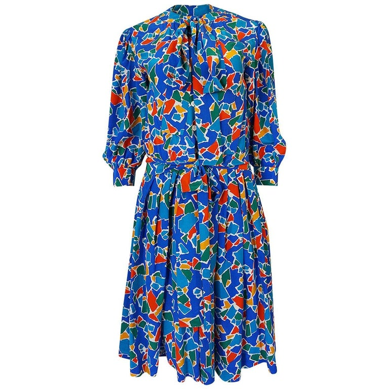 1980s Yves Saint Laurent Blue Print Secretary Silk Dress