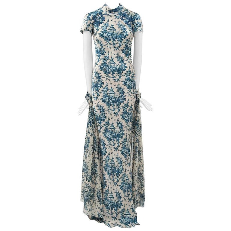 "John Galliano ""Toile de Jouy"" Bias Cut Gown and Stole  For Sale"